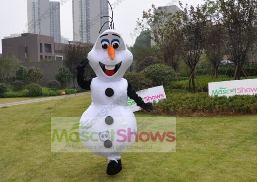 New Deluxe Frozen Snowman Olaf Mascot Costume With Black Sleeves